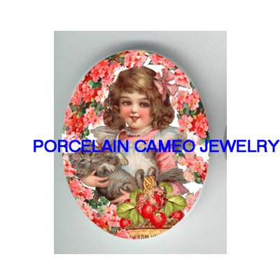 VICTORIAN GIRL HOLD KITTY CAT STRAWBERRY* UNSET PORCELAIN CAMEO CAB