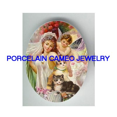VICTORIAN GREEK GODDESS ANGEL CHERUB KITTY CAT * UNSET PORCELAIN CAMEO CAB