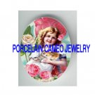VICTORIAN SWEET GIRL KITTY CAT ROSE* UNSET PORCELAIN CAMEO CAB