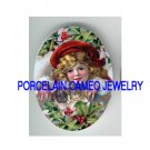 VICTORIAN CHRISTMAS RED HAT GIRL KITTY CAT HOLY BERRY PORCELAIN CAMEO CAB
