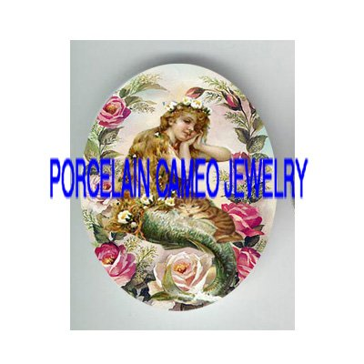 VICTORIAN MERMAID KITTY CAT PINK ROSE* UNSET PORCELAIN CAMEO CAB