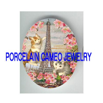 FRENCH EIFFEL TOWER KITTY CAT CHERRY BLOSSOMS * UNSET PORCELAIN CAMEO CAB