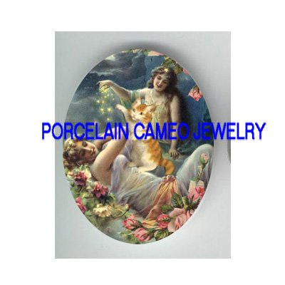 VICTORIAN MOON GODDESS KITTY CAT PLAY STARS * UNSET PORCELAIN CAMEO CAB