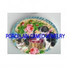 VICTORIAN KITTY CAT PLAY DRUM FAN ROSE* UNSET PORCELAIN CAMEO CAB