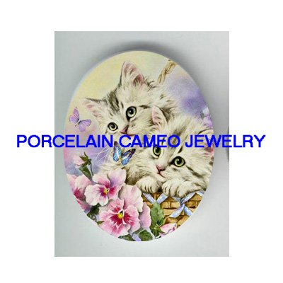 2 GREY PERSIAN KITTY CAT PANSY BUTTERFLY* UNSET PORCELAIN CAMEO CAB