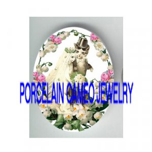 VICTORIAN WEDDING COUPLE KITTY CAT LILY OF VALLEY ROSE * UNSET PORCELAIN CAMEO CAB
