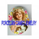 VICTORIAN SMILE GIRL KITTY CAT ROSE * UNSET PORCELAIN CAMEO CAB