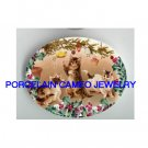 3 VICTORIAN CAT PLAY CHRISTMAS TREE ORNAMENT PORCELAIN CAMEO CAB