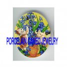 VAN GOGH IRIS FLOWER KITTY CAT * UNSET PORCELAIN CAMEO CAB