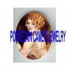ART DECO FLAPPER LADY WITH FAN* UNSET PORCELAIN CAMEO CAB