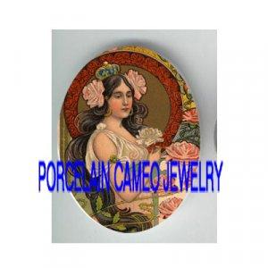 ART NOUVEAU CROWN ROSE PRINCESS* UNSET PORCELAIN CAMEO CAB