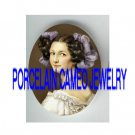 VICTORIAN PURPLE RIBBON SWEET LADY * UNSET PORCELAIN CAMEO CAB