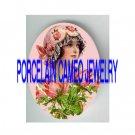 ART DECO FLAPPER LADY ROSE* UNSET PORCELAIN CAMEO CAB
