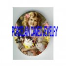 VICTORIAN FLOWER GIRL WITH DOG KITTY CAT * UNSET PORCELAIN CAMEO CAB