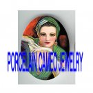 ART DECO GREEN GLAMOUR LADY * UNSET PORCELAIN CAMEO CAB