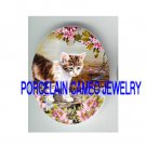KITTY CAT PLAY DRAGONFLY ROSE* UNSET PORCELAIN CAMEO CAB