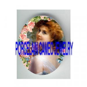 VICTORIAN  SMILING LADY HOLD ROSE* UNSET PORCELAIN CAMEO CAB