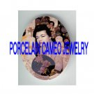 JAPAN PINK GEISHA LADY WITH FAN* UNSET PORCELAIN CAMEO CAB
