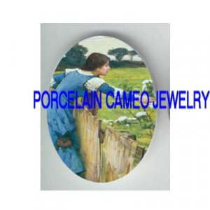 JOHN WATERHOUSE BLUE DRESS LADY PICK FLOWER * UNSET PORCELAIN CAMEO CAB