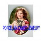 VICTORIAN GIRL HOLD KITTY CAT ROSE* UNSET PORCELAIN CAMEO CAB