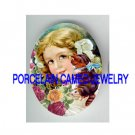 VICTORIAN GIRL KISS KITTY CAT ROSE* UNSET PORCELAIN CAMEO CAB