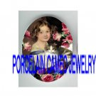 VICTORIAN GIRL HOLD KITTY CAT ROSE * UNSET PORCELAIN CAMEO CAB