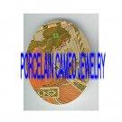 ART NOUVEAU LADY PLAY HARP PORCELAIN CAMEO CAB