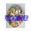VICTORIAN MERMAID KITTY CAT PINK YELLOW ROSE* UNSET PORCELAIN CAMEO CAB
