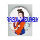 VINTAGE ORIENTAL CHINESE LADY SMELL FLOWER* UNSET PORCELAIN CAMEO CAB