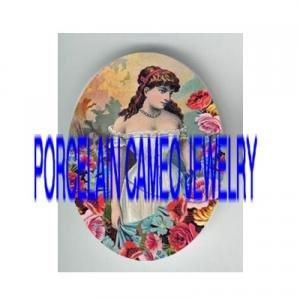 ART NOUVEAU LADY WITH COLORFUL ROSE * UNSET PORCELAIN CAMEO CAB