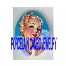 VINTAGE GLAMOUR FLAPPER BLUE DRESS LADY  * UNSET PORCELAIN CAMEO CAB