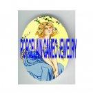 ART NOUVEAU ROSE GREEK GODDESS LADY * UNSET PORCELAIN CAMEO CAB