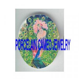 GLAMOUR FLAPPER LADYGREEN PEACOCK BIRD PORCELAIN CAMEO