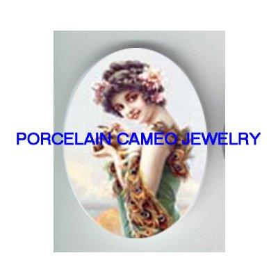ART NOUVEAU ROSE LADY PEACOCK DRESS * UNSET PORCELAIN CAMEO CAB