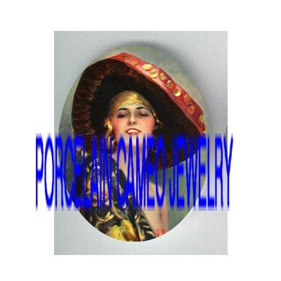 VINTAGE GLAMOUR FLAPPER LADY RED HAT PORCELAIN CAMEO CAB