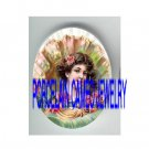 VICTORIAN LADY IN SEASHELL ROSE* UNSET PORCELAIN CAMEO CAB