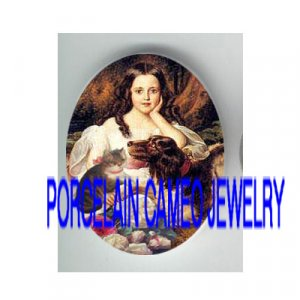VICTORIAN GIRL KITTY CAT DOG ROSE* UNSET PORCELAIN CAMEO CAB