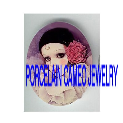 FRENCH PURPLE PIERROT WITH ROSE PORCELAIN CAMEO CAB