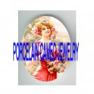 VICTORIAN LADY WITH ROSE WREATH * UNSET PORCELAIN CAMEO CAB