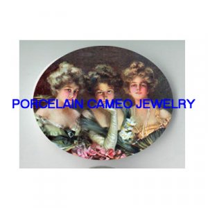 3 VICTORIAN LADY SISTER BEST FRIEND GATHERING  * UNSET PORCELAIN CAMEO CAB