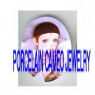 FRENCH PIERROT HOLDING ROSE* UNSET PORCELAIN CAMEO CAB