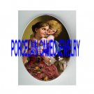 VICTORIAN MOM DAUGHTER CUDDLING SEWING KITTY CAT * UNSET PORCELAIN CAMEO CAB