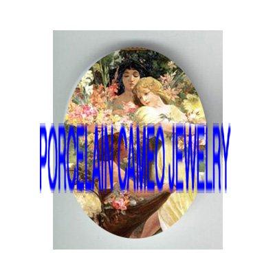 ALPHONSE MUCHA 3 ART NOUVEAU SPRING FLOWER LADY* UNSET PORCELAIN CAMEO CAB