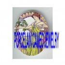 ART NOUVEAU IRIS LILY FLOWER LADY PORCELAIN CAMEO CAB