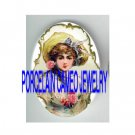 VICTORIAN SWEET YOUNG LADY ROSE* UNSET PORCELAIN CAMEO CAB