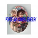 VICTORIAN BOY AND GIRL RIDE BICYCLE KITTY CAT BASKET* UNSET PORCELAIN CAMEO CAB
