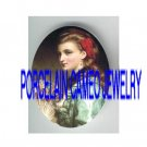 VICTORIAN RED RIBBON LADY WITH FAN * UNSET PORCELAIN CAMEO CAB