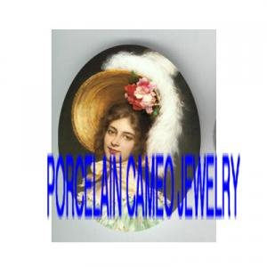 VICTORIAN ROSE FEATHER HAT LADY * UNSET PORCELAIN CAMEO CAB