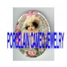 VICTORIAN LACE LADY ROSE WREATH* UNSET PORCELAIN CAMEO CAB