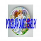 PINK ANGEL HOLDING ROSE* UNSET PORCELAIN CAMEO CAB